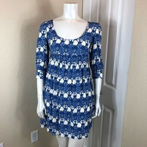 Topshop Blue and White Floral Print Dress ¾ Sleeve